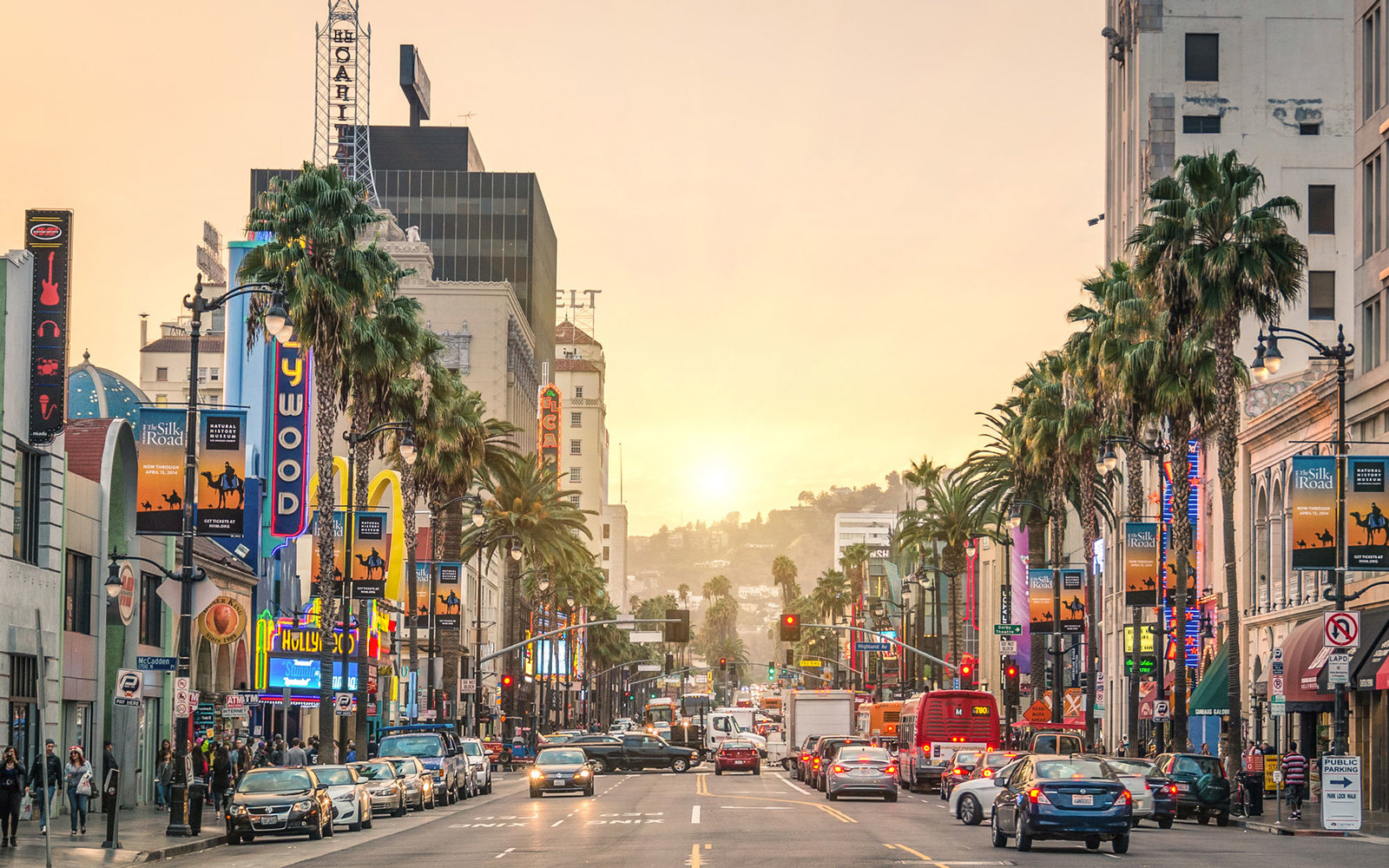 LOS ANGELES - DECEMBER 18, 2013: View of Hollywood Boulevard at sunset. In 1958, the Hollywood Walk of Fame was created on this street as a tribute to artists working in the entertainment industry.; Shutterstock ID 186048416