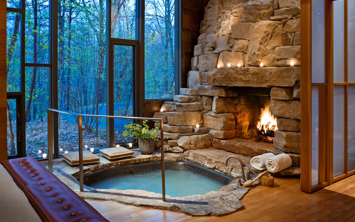 fireplace hot tub and view in vermont hotel room twin