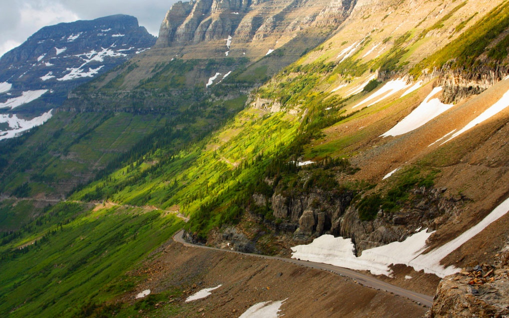 mountain-side drive on Going-to-the-Sun Road, Montana