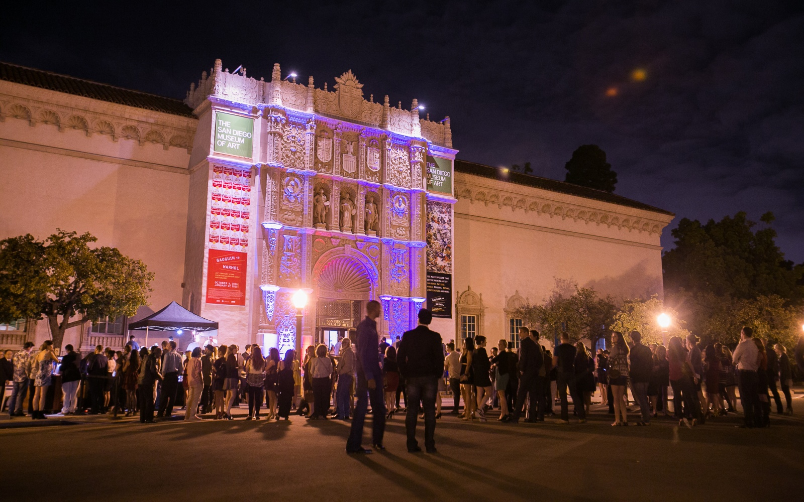 San Diego Museum of Art entrance at night