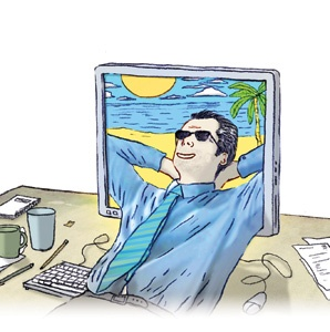 Computer, vacation, relaxing, illustration