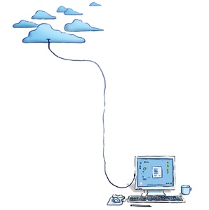computor, clouds, illustration