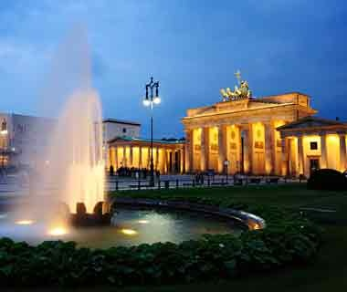 fountain at night in Berlin, Germany