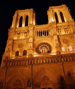 Notre Dame Cathedral at night in Paris, France