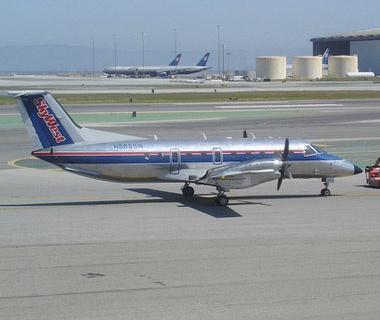 SkyWest airplane on the tarmac