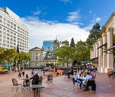 public square in downtown Portland, OR