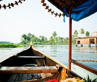 river boat on the water in Kerala, India