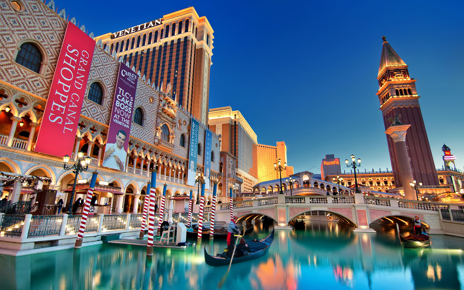 The canals at the Venetian Hotel in Las Vegas, NV