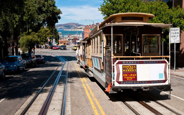 cable car in the streets of San Francisco, California