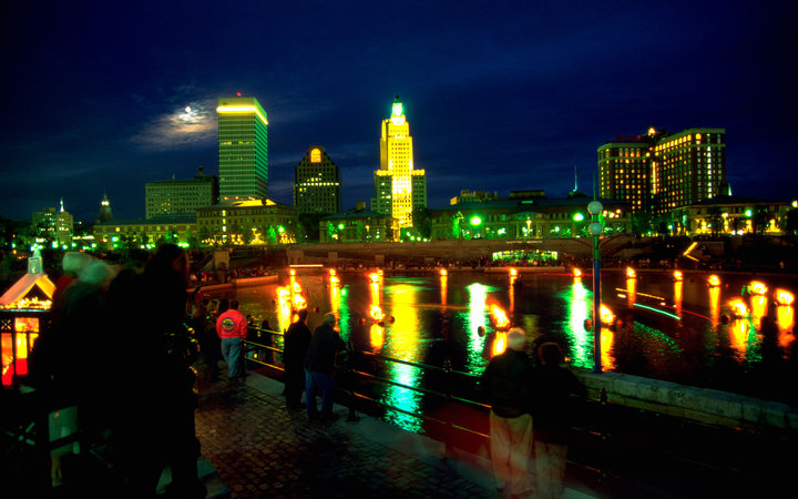 Nighttime over downtown Providence, R.I.