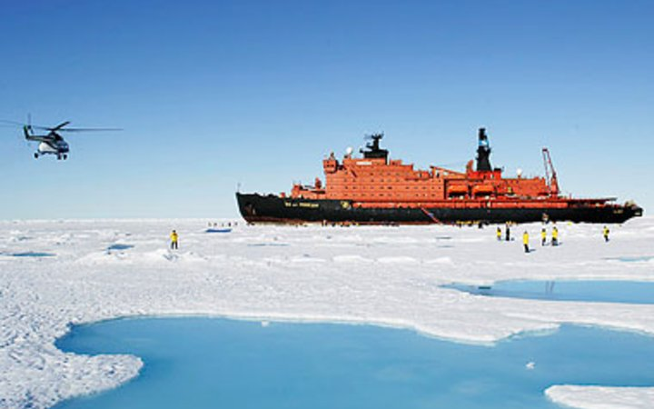 ice breaker cruise ship by the North Pole