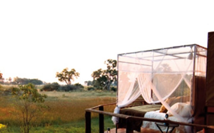 bed with netting at Sanctuary Baines' Camp in Botswana.