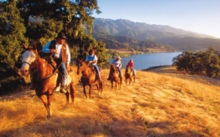 horseback riding in scenic Alisal Guest Ranch and Resort, Solvang, CA
