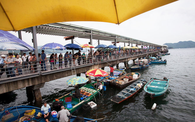 Sai Kung Town Harbor and Fishing Boats in Hong Kong