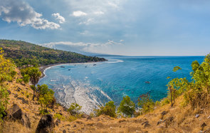 An panoramic view of Amed coastal area in Bali