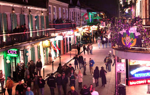 Bourbon street night life in New Orleans, LA