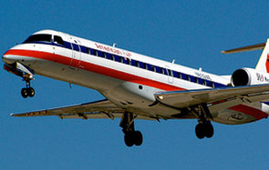 American Eagle commercial jet preparing to land