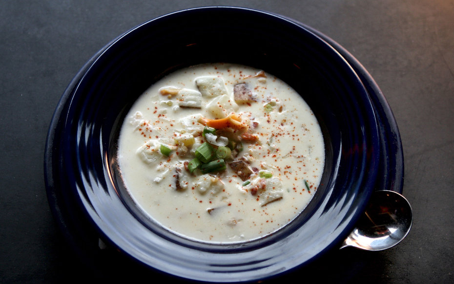 BOSTON - MARCH 24: Common Ground Bar & Grill's clam chowder is topped with shredded scallions and paprika. (Photo by Wendy Maeda/The Boston Globe via Getty Images)