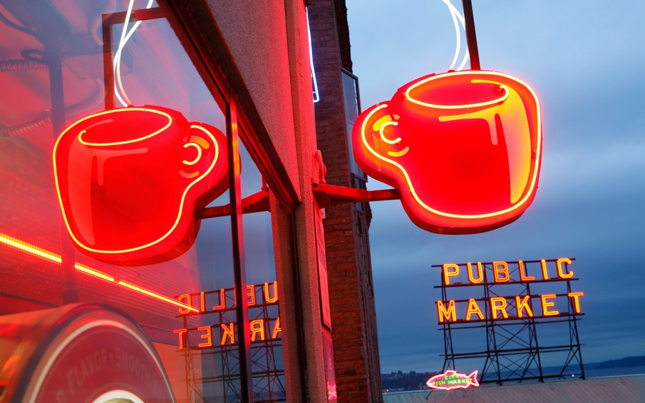 Coffee shop at Pike Place, Seattle