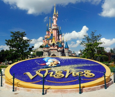 Disney castle at Disneyland Park in Marne-la-Vallée, France