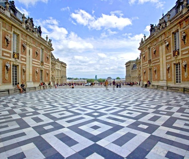 courtyard of Palace of Versailles in Versailles, France