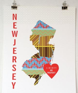 JHill New York and New Jersey Charity Map Prints