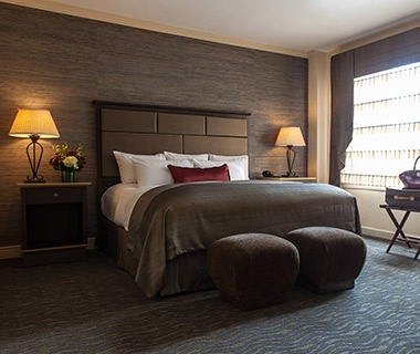 guest beds at The Whitehall Hotel in Chicago, IL