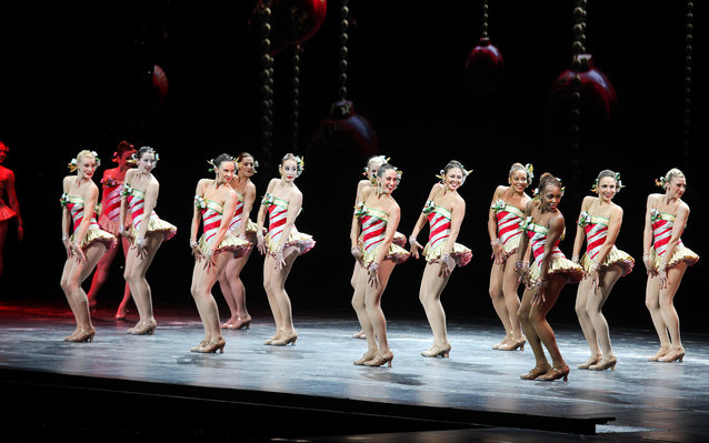 NEW YORK, NY - NOVEMBER 18:  The Rockettes perform at 2015 Radio City Christmas Spectacular Opening Night at Radio City Music Hall on November 18, 2015 in New York City.  (Photo by Steve Zak Photography/Getty Images)