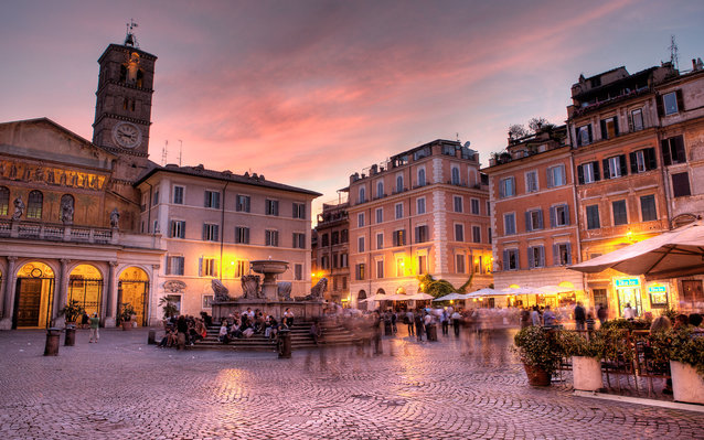 Nightlife in Trastevere, Rome, Italy