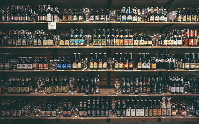 A large variety of Belgium beers