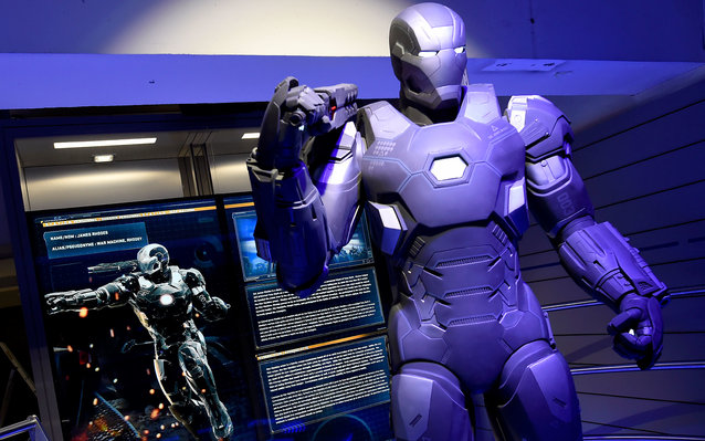 "A photo taken on April 13, 2016 shows Marvel Comics superhero ""War Machine"" on display at the interactive Marvel Avengers STATION exhibition in the bussines district of La Defense, west of Paris. / AFP / MIGUEL MEDINA / RESTRICTED TO EDITORIAL USE - MANDA"