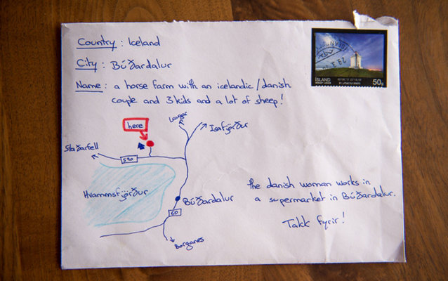 This letter with a map drawing instead of an address made it to its destination in Iceland.