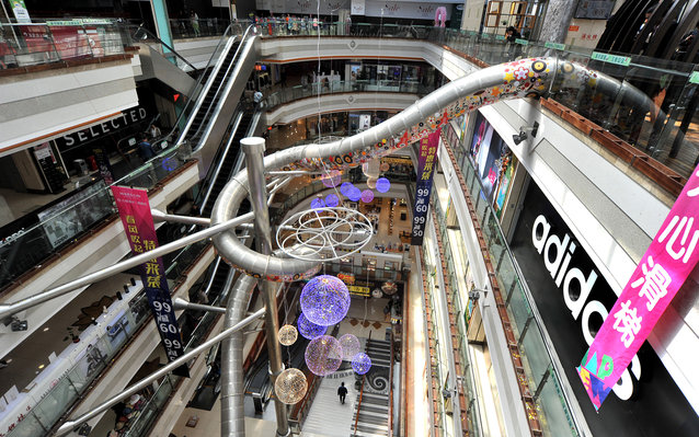 Five-story slide in Shanghai department store