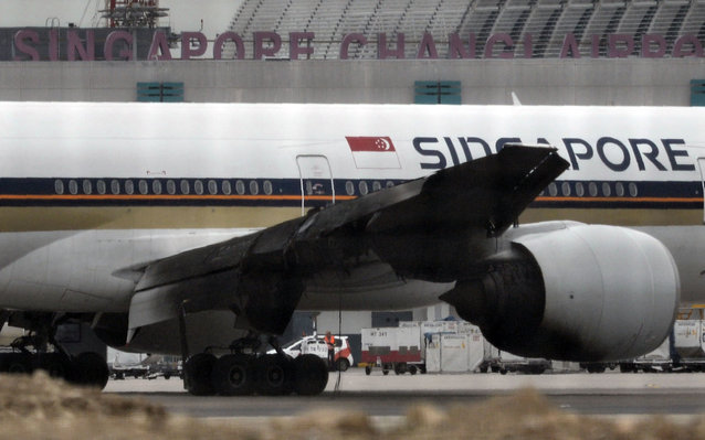 Singapore Airline's plane catches fire