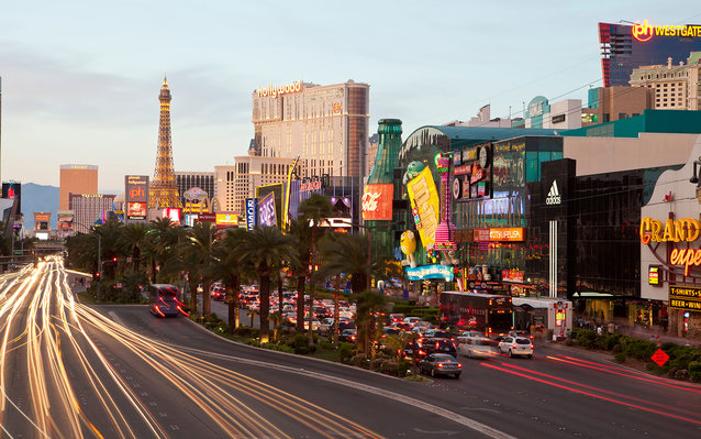 The strip in Las Vegas at dusk