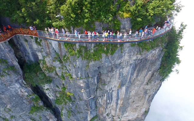 The third glass walkway at a Chinese mountain park.