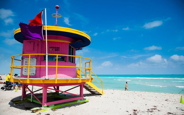 lifeguard tower on the beach in Miami, FL