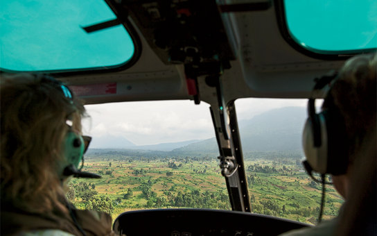 The view from the cockpit on a helicopter safari over Virunga National Park