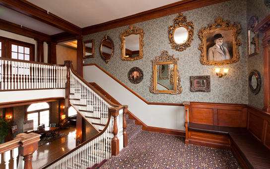 The stairway of the Stanley Hotel
