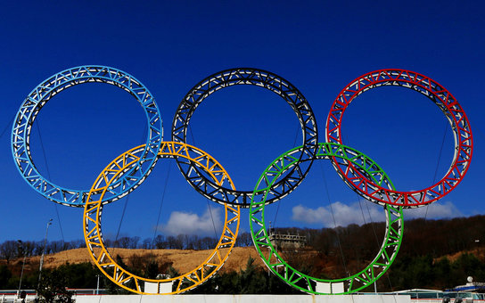 ADLER, RUSSIA - JANUARY 08:  The Olympic Rings stand outside of Sochi International Airport on January 8, 2014 in Alder, Russia. The region will host the Sochi 2014 Winter Olympics which start on February 6th, 2014.  (Photo by Michael Heiman/Getty Images)