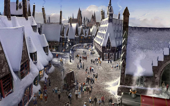 """The Wizarding World of Harry Potter"" at Universal Studios Hollywood - Hogsmeade Village concept rendering"