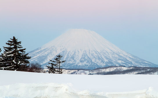 island; Hokkkaido; winter; landscape; scenic; mountain; view; snow; Mount Yotei; volcano