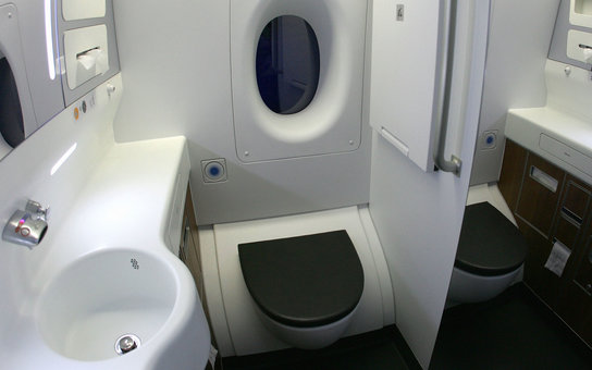 "SYDNEY, AUSTRALIA - SEPTEMBER 21:  A general view of the new lavatory onboard the new Qantas A380 flagship the ""Nancy-Bird Walton' as she joins the Qantas fleet at Sydney Domestic Airport on September 21, 2008 in Sydney, Australia. The Qantas A380 will fe"