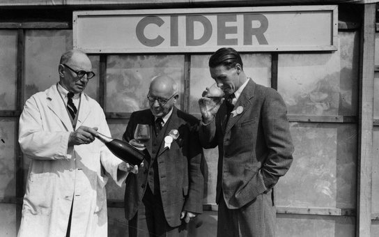 1st June 1950:  Judges of the cider competition at the Bath and West and Southern Counties Society's four day agricultural show.  (Photo by Edward G. Malindine/Topical Press Agency/Getty Images)