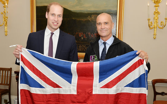 LONDON, ENGLAND - OCTOBER 19: Prince William, Duke of Cambridge poses with Henry Worsley, who will attempt the 2015/16 Shackleton solo challenge where the Polar explorer will be attempting to undertake Sir Ernest Shackleton's unfinished journey to the Sou