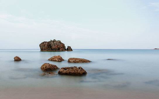 IBIZA, BALEARIC ISLANDS, SPAIN - 2014/03/31: Islets in Aguas Blancas beach. (Photo by Raquel Maria Carbonell Pagola/LightRocket via Getty Images)