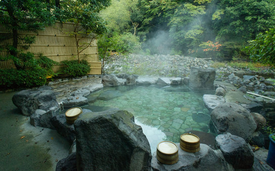 Natural hot spring bath in Hakone, Japan