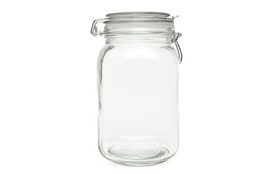 BPG4W7 Clear air tight Preserve Jar isolated on white background.