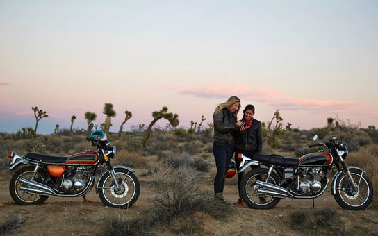 Women on an adventure with motorcycles
