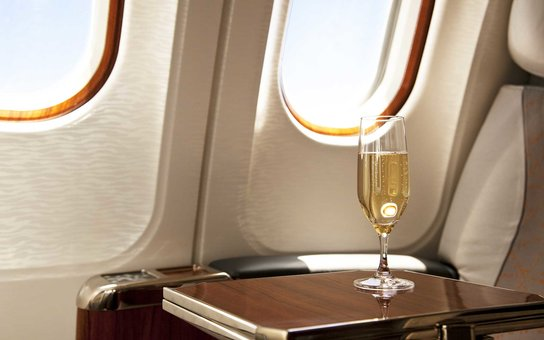Business Class Seat with served champagne